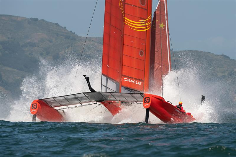 Team China foil ahigh and crash resulting in a damaged wing. Practice race day, Event 2, Season 1 SailGP event in San Francisco, California,  - photo © Chris Cameron for SailGP