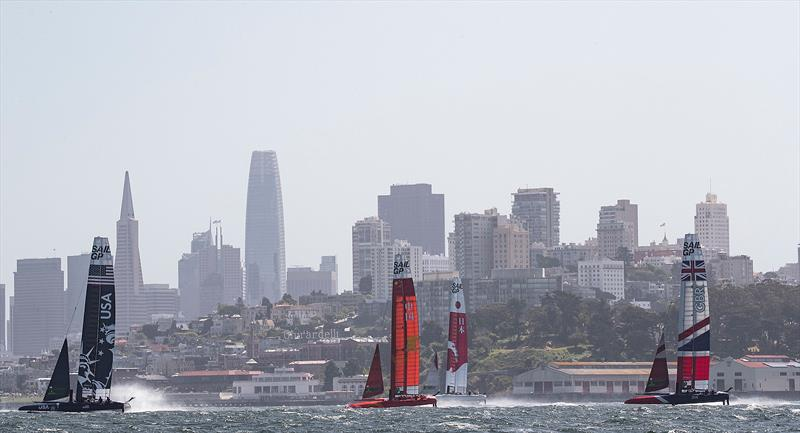 SailGP teams training in the bay in choppy waters across the City front.  SailGP event in San Francisco, California, - photo © www.lloydimages.com