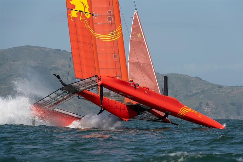 Team China foil ahigh and crash resulting in a damaged wing. Practice race day, Event 2, Season 1 SailGP event in San Francisco,  - photo © Chris Cameron for SailGP