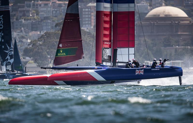 Great Britain SailGP Team skippered by Dylan Fletcher training in the bay. Race 2 Season 1 SailGP event in San Francisco, - photo © www.lloydimages.com