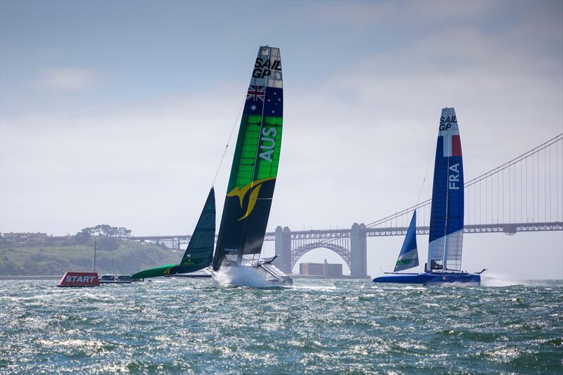 Australia SAILGP Team skippered by Tom Slingsby passes the start marker followed by France SailGP Team skippered by Billy Besson in a practice race with the Golden Gate Bridge in the distance. Event 2 Season 1 SailGP event in San Francisco - photo © Eloi Sitchelbaut for SailGP