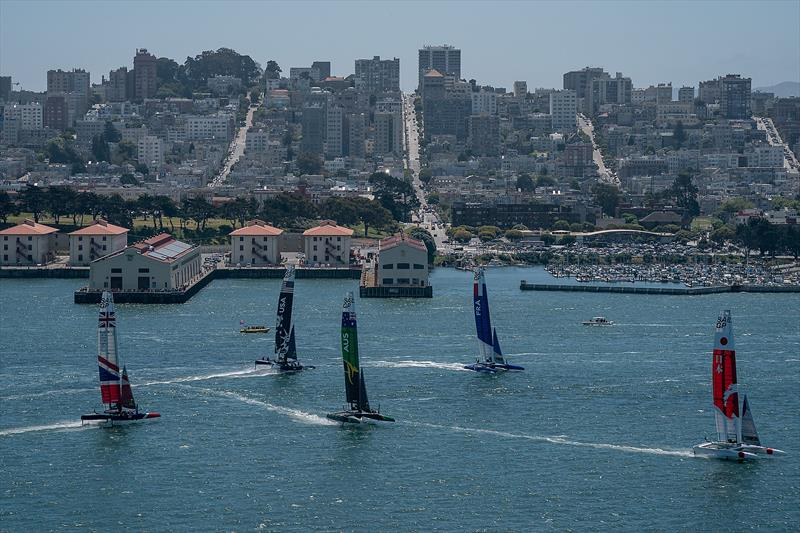 The F50 catamaran fleet races past the Race Village. Race Day 1 Event 2 Season 1 SailGP event in San Francisco - photo © Bob Martin for SailGP