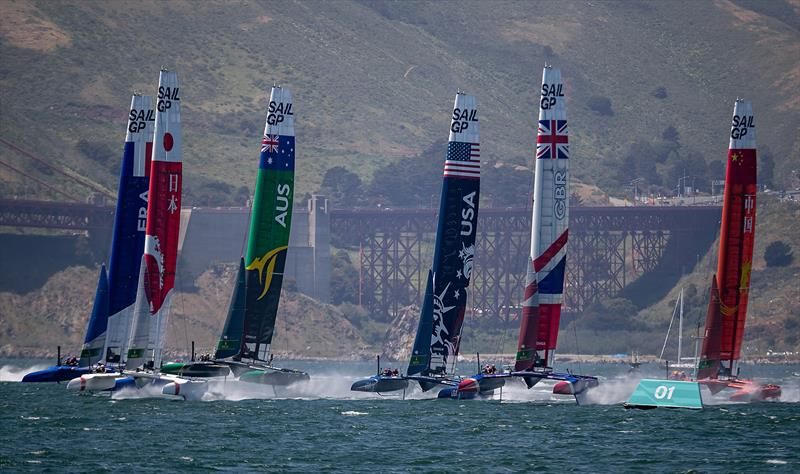 The F50 catamaran fleet racing almost in a line. Race Day 1 Event 2 Season 1 SailGP event in San Francisco - photo © Jed Jacobsohn for SailGP
