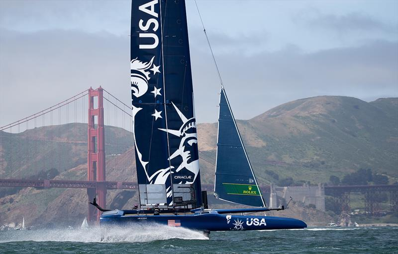 United States SailGP Team skippered by Rome Kirby warm up in front of the Golden Gate Bridge before the day's races. Race Day 1 Event 2 Season 1 SailGP event in San Francisco,  - photo © Lloyd Images for SailGP