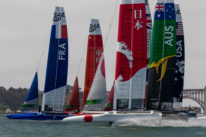 Start of race one on Race Day 1 Event 2 Season 1 SailGP event in San Francisco - photo © Chris Cameron