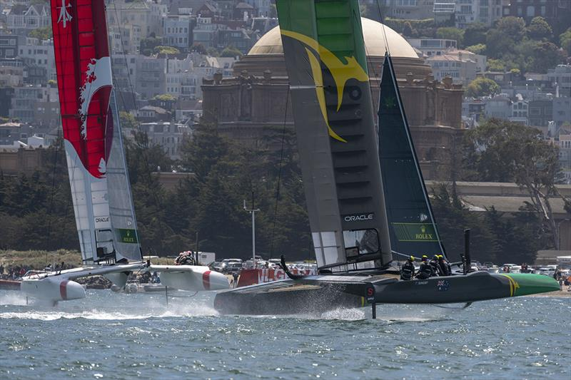 Team Australia helmed by Tom Slingsby and team Japan helmed by Nathan Outteridge at the top mark in Race one. Race Day 1 Event 2 Season 1 SailGP event in San Francisco, California, United States. 04 May . - photo © Chris Cameron for SailGP
