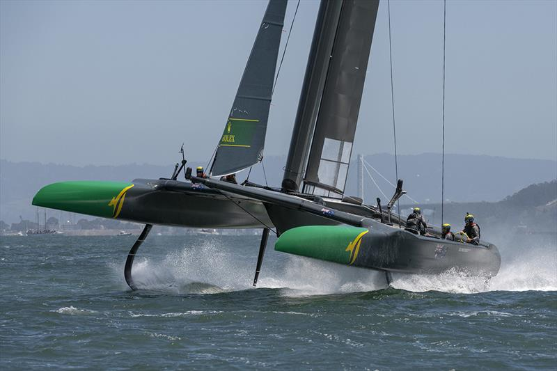 Team Australia helmed by Tom Slingsby bury their port bow through a tack. Race Day 1 Event 2 Season 1 SailGP event in San Francisco, California, United States. 04 May - photo © Chris Cameron for SailGP