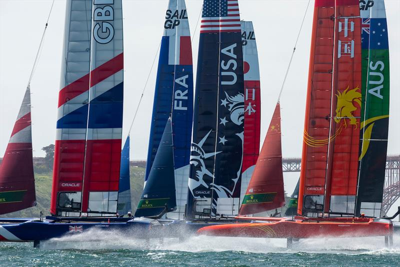 The fleet of six F50s heads for the first mark in race two. Race Day 1 Event 2 Season 1 SailGP event in San Francisco, California, United States. 04 May - photo © Chris Cameron for SailGP