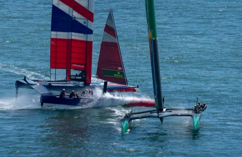 Great Britain SailGP Team skippered by Dylan Fletcher and Australia SailGP Team skippered by Tom Slingsby racing close together. Race Day 1 Event 2 Season 1 SailGP event in San Francisco, California, United States. - photo © Bob Martin for SailGP