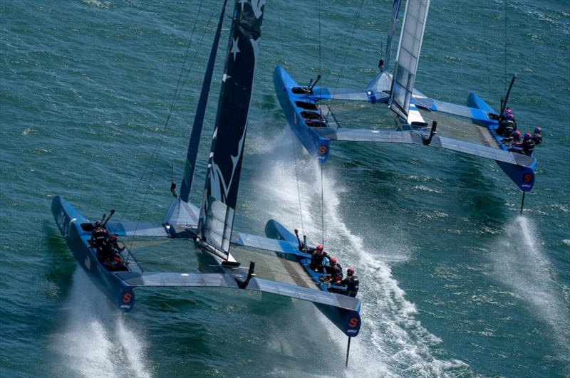 United States SailGP Team skippered by Rome Kirby and France SailGP Team skippered by Billy Besson racing close together. Race Day 1 Event 2 Season 1 SailGP event in San Francisco, California, United States. - photo © Bob Martin for SailGP