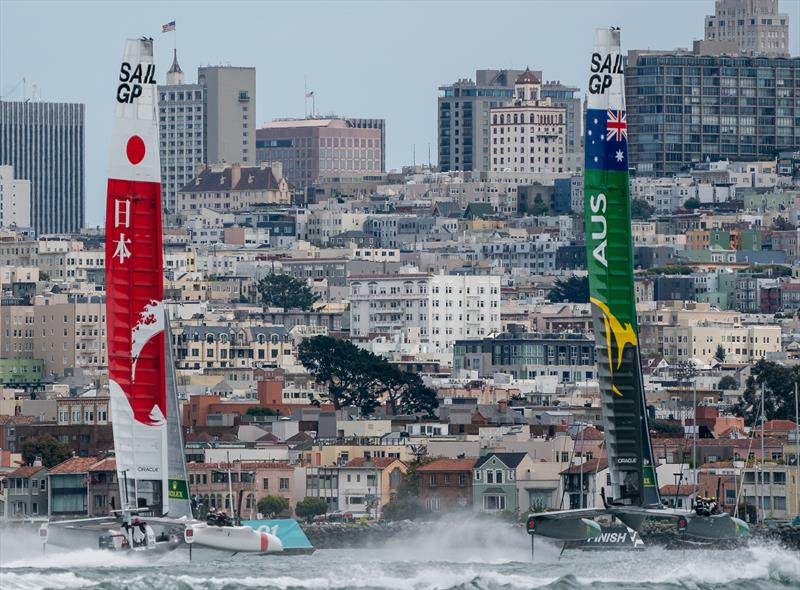 Australia SailGP Team skippered by Tom Slingsby against Japan SailGP Team skippered by Nathan Outteridge in the Match race final. Race Day 2 Event 2 Season 1 SailGP event in San Francisco - photo © Bob Martin for SailGP