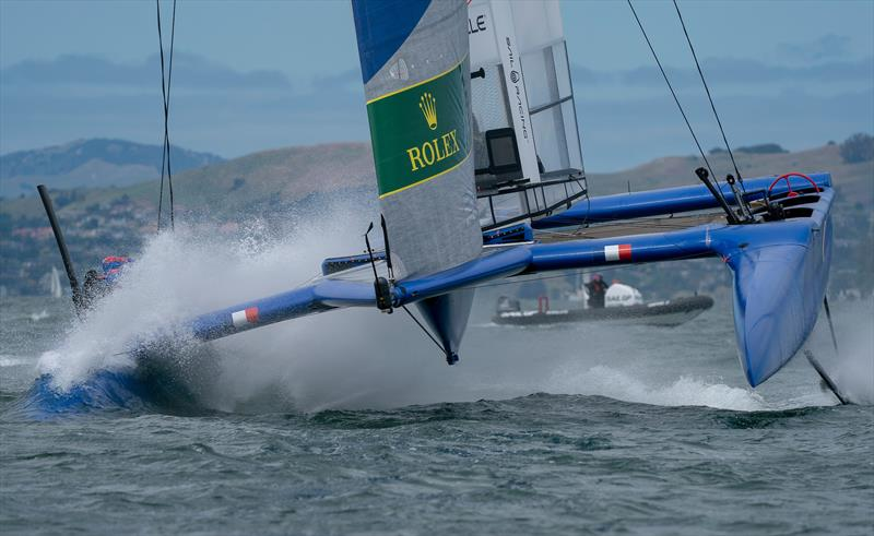France SailGP Team skippered by Billy Besson dipping one of their hulls into the water. Race Day 2 Event 2 Season 1 SailGP event in San Francisco - photo © Bob Martin for SailGP
