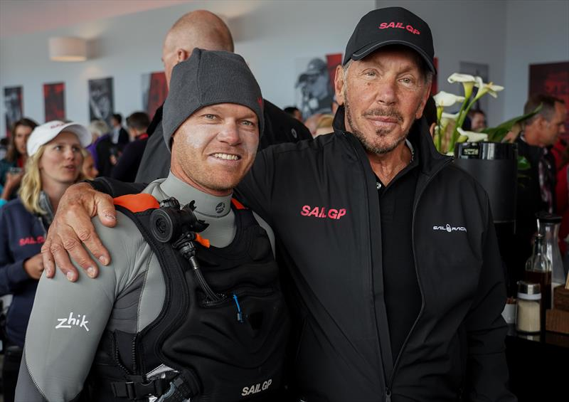 Nathan Outteridge JPN with Larry Ellison CTO And Chairman of Oracle. Race Day 2 Event 2 Season 1 SailGP event in San Francisco, - photo © Beau Outteridge for SailGP