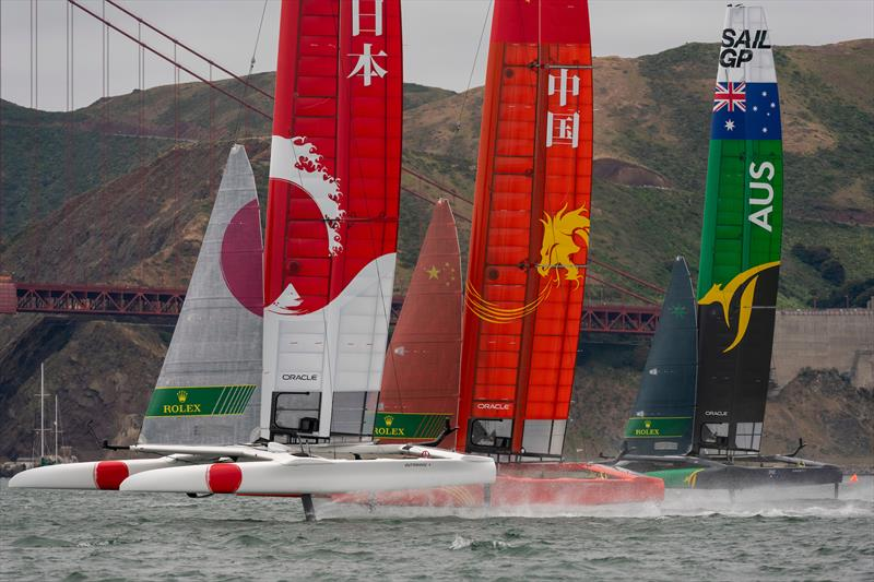 Team Japan, Team China and Team Australia power up for the start of race five. Race Day 2 Event 2 Season 1 SailGP event in San Francisco - photo © Chris Cameron