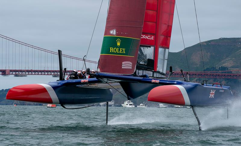 Great Britain with the Golden Gate Bridge in the background. Race Day 2 Event 2 Season 1 SailGP event in San Francisco, - photo © Bob Martin for SailGP