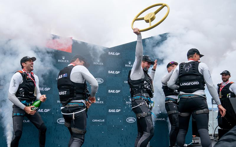 Tom Slingsby AUS holds the trophy aloft as the victorious Australia SailGP Team celebrate their win on the podium. Race Day 2 Event 2 Season 1 SailGP event in San Francisco - photo © Bob Martin for SailGP