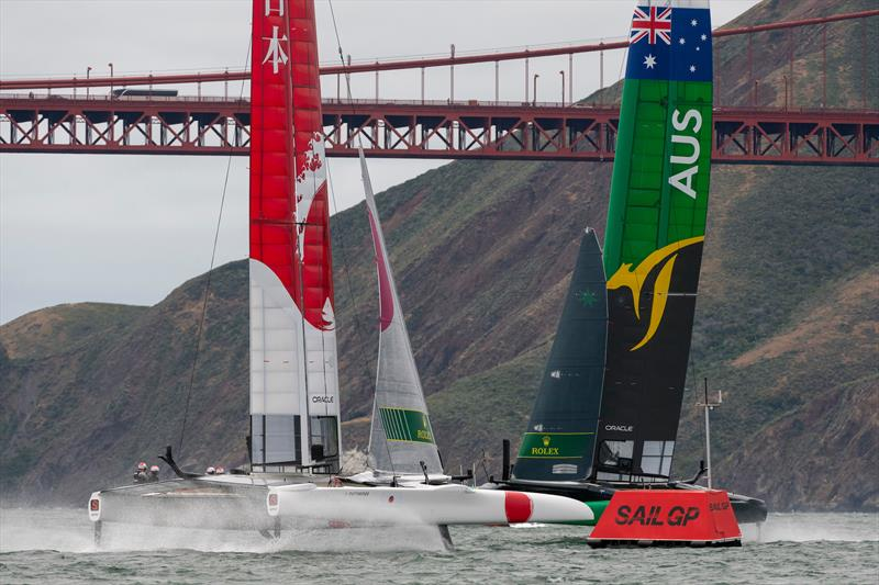 Team Japan helmed by Nathan Outteridge and Team Australia helmed by Tom Slingsby enter the box for the start of the final match race. Race Day 2 Event 2 Season 1 SailGP event in San Francisco - photo © Chris Cameron