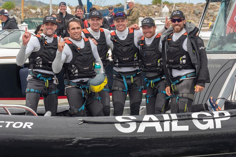 SailGP Team Australia win the SailGP San Francisco event, Jason Waterhouse, Ky Hurst, Kyle Langford, Sam Newton, Tom Slingsby, and Kinley Fowler. Race Day 2 Event 2 Season 1 SailGP event in San Francisco photo copyright Chris Cameron taken at Golden Gate Yacht Club and featuring the F50 class