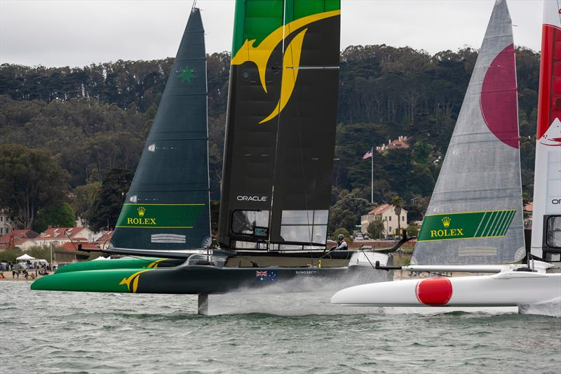 Team Australia helmed by Tom Slingsby and Team Japan helmed by Nathan Outteridge in the final match race. Race Day 2 Event 2 Season 1 SailGP event in San Francisco - photo © Chris Cameron for SailGP
