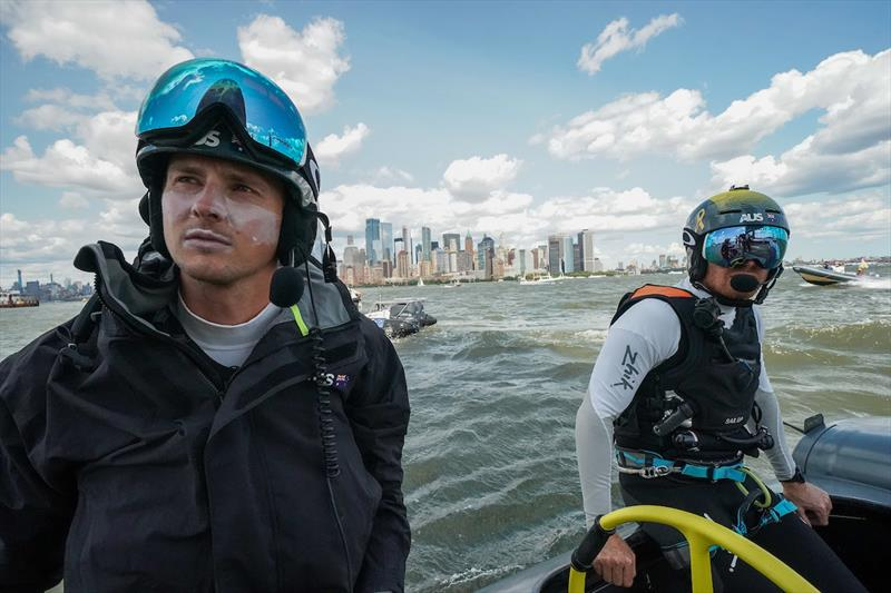 The Australia SailGP Team head out on a rib from the Liberty Landing Marina Technical Area to their moored F50 catamaran. Race Day 2 Event 3 Season 1 SailGP event in New York City, New York, United States. 22 June . - photo © Sam Greenfield for SailGP