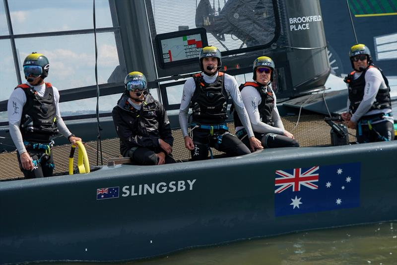 The Australia SailGP Team crew on board their F50 catamaran. Race Day 2 Event 3 Season 1 SailGP event in New York City, New York, United States. 22 June . - photo © Sam Greenfield for SailGP