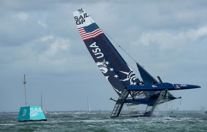 United States SailGP Team helmed by Rome Kirby try to prevent a capsize in the early stages of the first race. United States SailGP Team eventually fully capsize alongside the first mark. photo copyright Lloyd Images for SailGP taken at  and featuring the F50 class