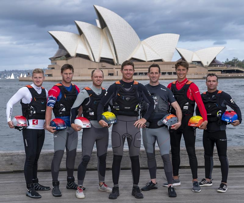 L-R: Nicolai Sehested, Rome Kirby, Nathan Outteridge, Tom Slingsby, Ben Ainslie, Florian Trittel and Billy Besson pose together in front of Sydney Opera House ahead of Sydney SailGP Event 1 Season 2 - photo © Bob Martin for SailGP