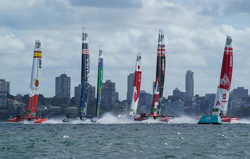 Great Britain SailGP Team helmed by Ben Ainslie leads the fleet during the first race on Race Day 1 - Sydney SailGP - photo © Bob Martin for SailGP