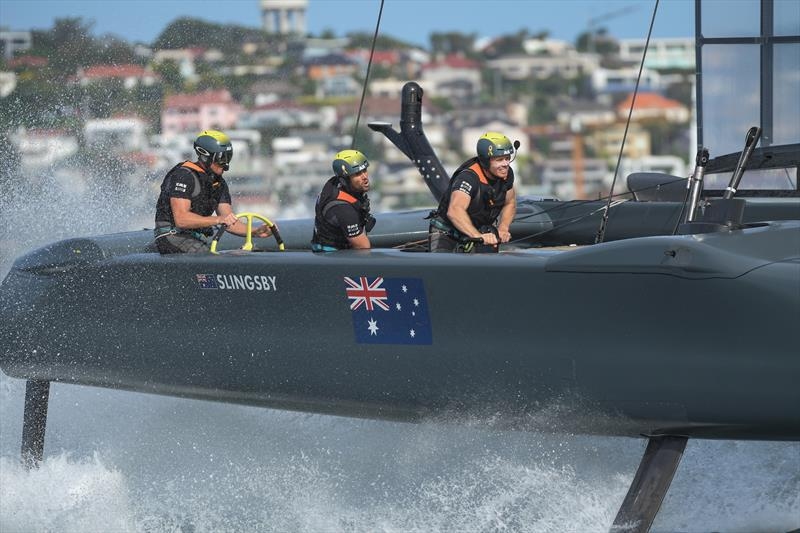 Australia SailGP Team helmed by Tom Slingsby in action during races on Race Day 2. - SailGP - Sydney - Season 2 - February 2020 - Sydney, Australia. - photo © Drew Malcolm/SailGP