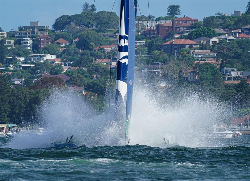 United States SailGP Team helmed by Rome Kirby nose dive on Race Day 1.  - SailGP - Sydney - Season 2 - February 2020 - Sydney, Australia. - photo © Bob Martin/SailGP