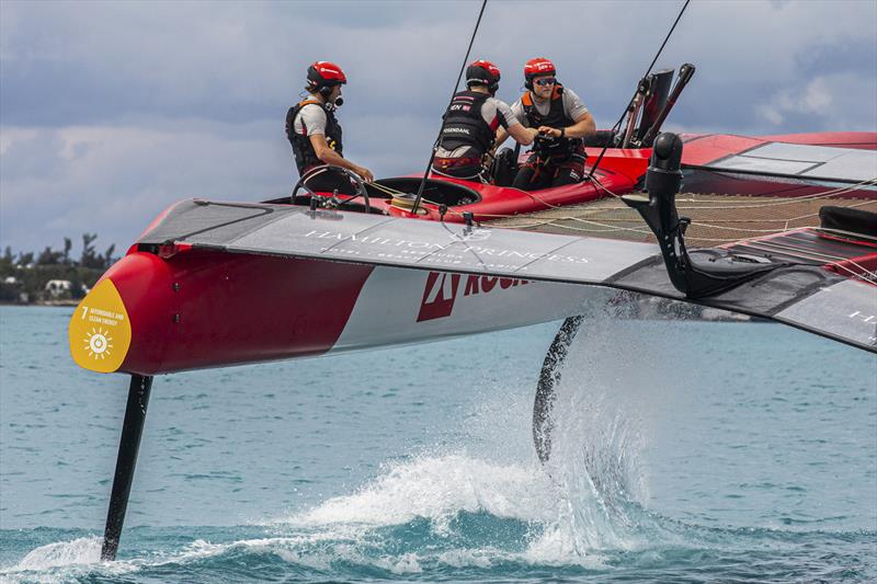 Denmark SailGP Team helmed by Nicolai Sehested in action during a practice session ahead of Bermuda SailGP presented by Hamilton Princess, Event 1 Season 2 in Hamilton, Bermuda. 18 April . Photo: Brian Carlin / Rockwool. Handout image supplied by SailGP - photo © Brian Carlin / Rockwool
