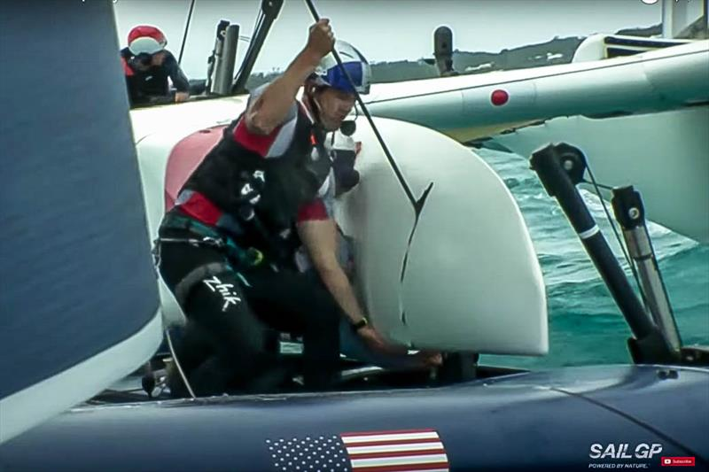 Aboard Japan SailGP after the collision with the USA's backstay sliced through the starboard hull. - photo © Japan SailGP