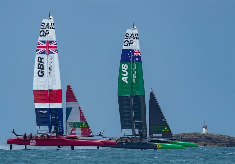 Great Britain SailGP and Team Australia SailGP Team compete in the final three way race on Race Day 2.  - photo © Bob Martin/SailGP