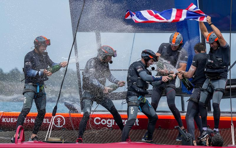 Sir Ben Ainslie and the Great Britain SailGP Team  celebrate their win with Champagne Barons de Rothschild in the final race on Race Day 2. Bermuda SailGP - photo © Bob Martin/SailGP