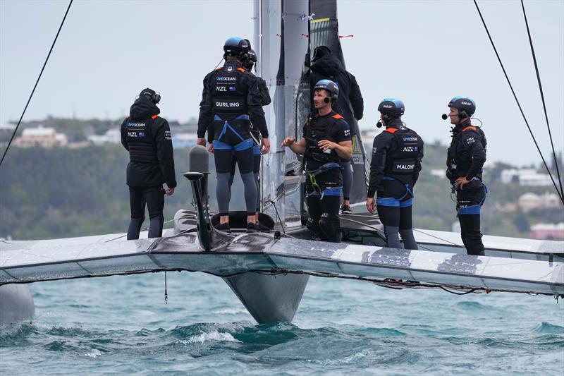 New Zealand SailGP Team Peter Burling discuss tactics on board during practice on Race Day 2, Bermuda SailGP  - photo © Bob Martin/SailGP