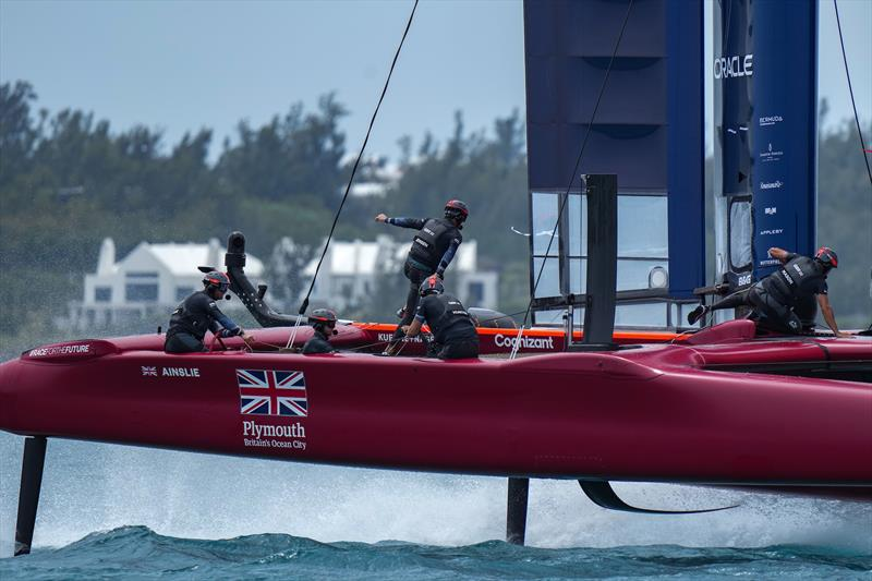 Great Britain SailGP Team helmed by Sir Ben Ainslie go through some practice runs before the first race on Race Day 2.  - photo © Bob Martin/SailGP
