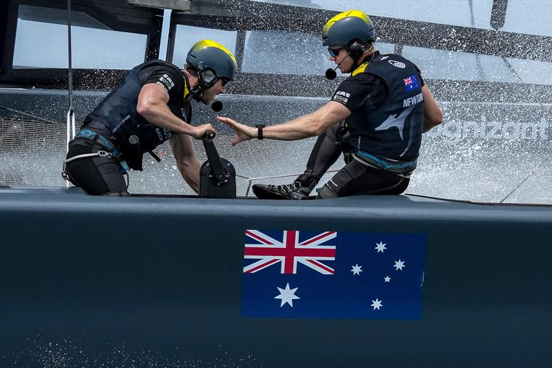 Grinders Kinley Fowler and Sam Newton in action on the Australia SailGP Team F50 catamaran during a practice run before the first race on Race Day 2.  - photo © Bob Martin/SailGP