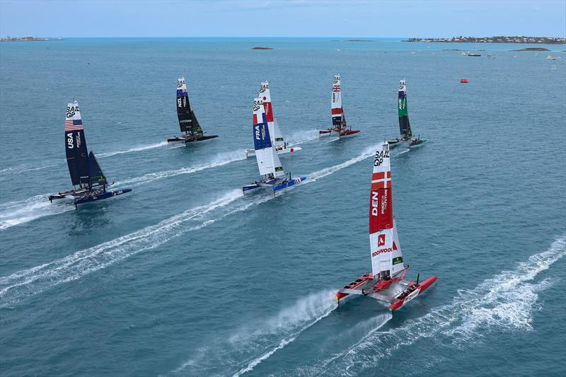 The fleet being led out by Great Britain SailGP Team during Race Day 2 Bermuda SailGP - photo © Simon Bruty/SailGP