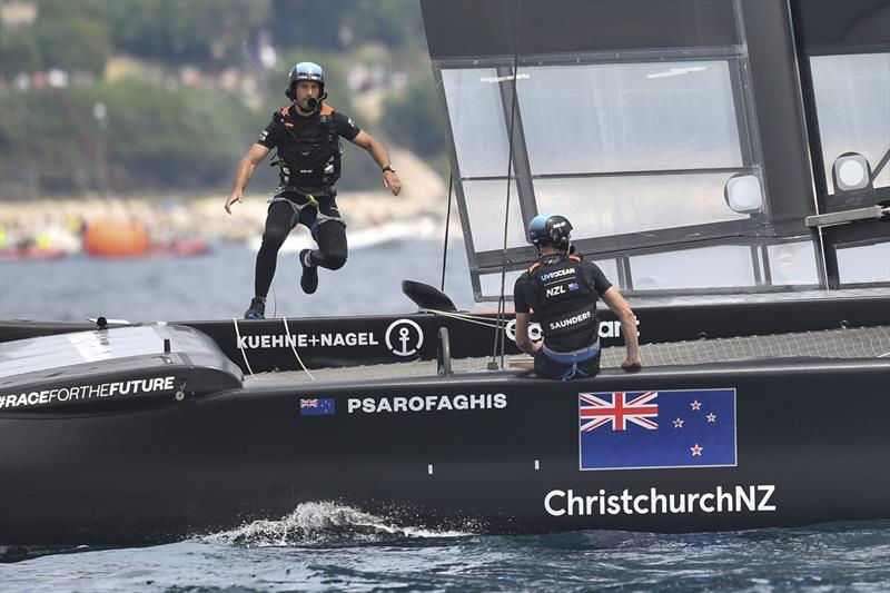 New Zealand SailGP Team helmed by interim skipper Arnaud Psarofaghis in action during race 1 of Italy SailGP, Event 2, Season 2 in Taranto, Italy. 05 June . - photo © Ricardo Pinto / SailGP