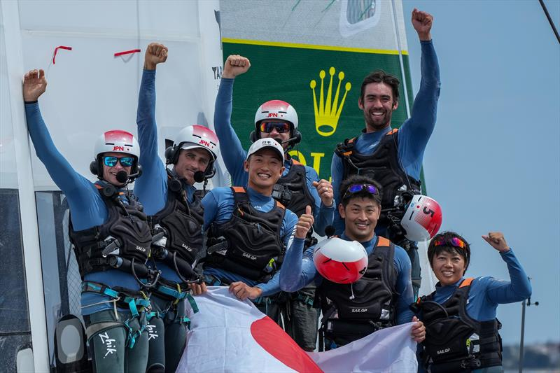 Japan SailGP Team helmed by Nathan Outterridge, celebrate on board their F50 catamaran as winners of the final match race on Race Day 2 at the Italy SailGP, Event 2, Season 2 in Taranto, Italy. 06 June. - photo © Bob Martin / SailGP