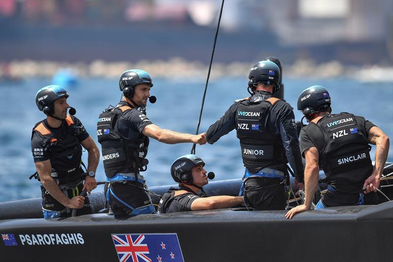 New Zealand SailGP Team helmed by interim skipper Arnaud Psarofaghis celebrate after winning Race 4 on race day 2. Italy SailGP, Event 2, Season 2 in Taranto, Italy. 06 June  - photo © Ricardo Pinto / SailGP