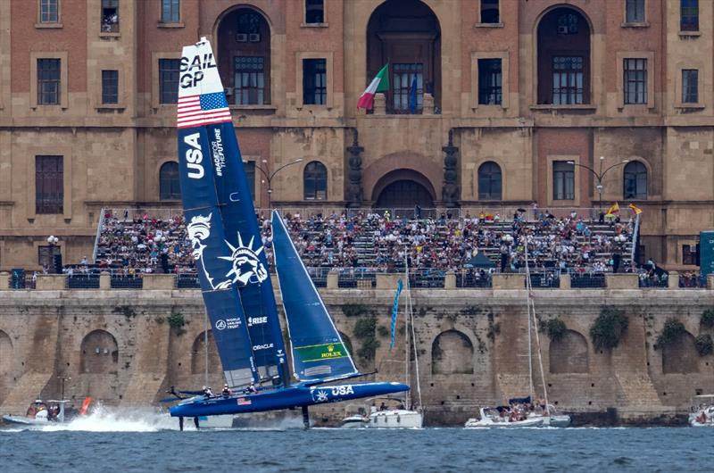 USA SailGP Team helmed by Jimmy Spithill breaks down during the three-way match race final on Race Day 2 at the Italy SailGP, Event 2, Season 2 in Taranto, Italy. 06 June - photo © Bob Martin / SailGP