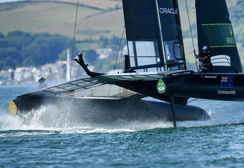 New Zealand SailGP Team helmed by interim skipper Arnaud Psarofaghis in action ahead of racing on race day 2 of Great Britain SailGP, Event 3, Season 2 in Plymouth, UK 18 July . - photo © Ricardo Pinto/SailGP