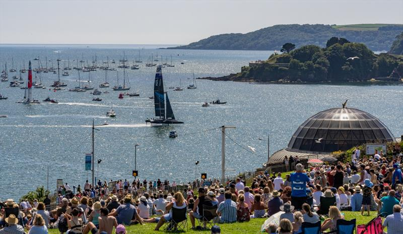 New Zealand SailGP Team sails past as spectators watch the action on race day 2 from Plymouth Hoe and the SailGP Village during Great Britain SailGP, Event 3, Season 2 in Plymouth, Great Britain 18 July  - photo © Adam Warner/SailGP