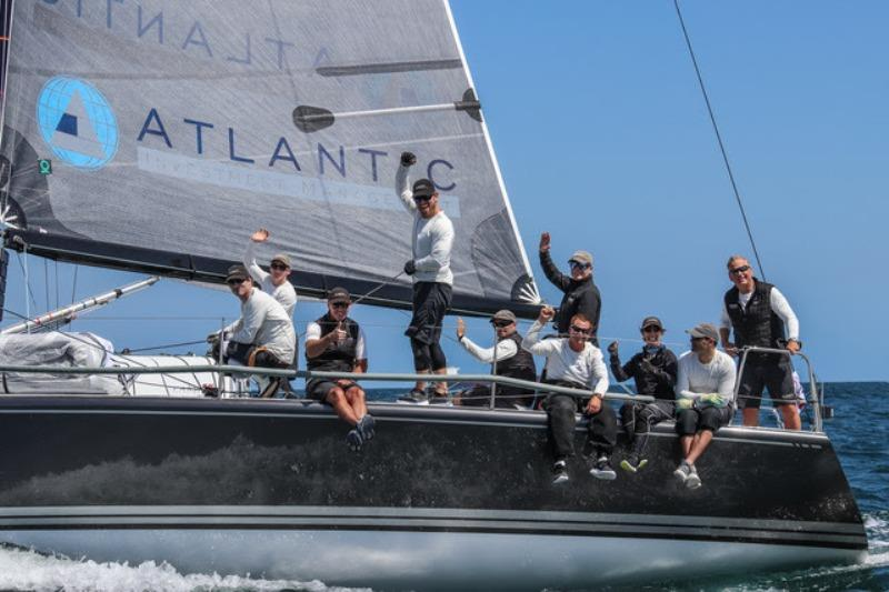 Skipper Alex Roepers, standing in stern, and the Plenty crew celebrate after completing a wire-to-wire victory. photo copyright Farr 40 Class / Joy Sailing taken at Long Beach Yacht Club and featuring the Farr 40 class