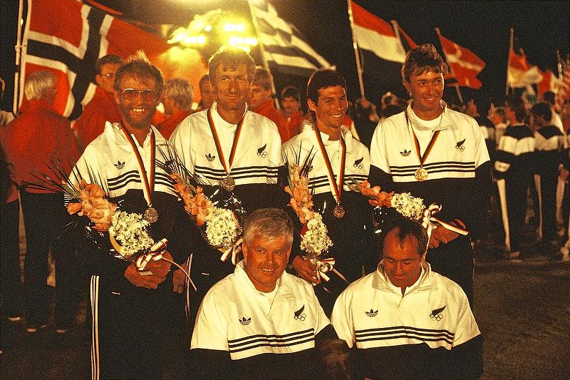 1988 Olympic medalists - Chris Timms, Rex Sellers, Bruce Kendall and John Cutler, with Mike Clark left front and coach Harold Bennett (right front) - photo © Peter Montgomery
