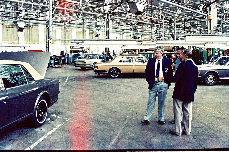 Mike Clark on a private Tour of the Rolls Royce Factory in 1985 - photo © Peter Montgomery