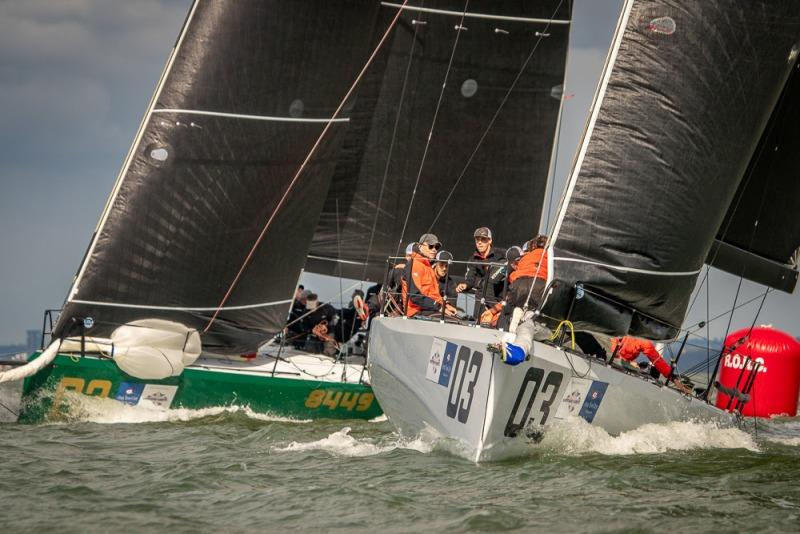 Close action in the Wight Shipyard One Ton Cup between Bas de Voogd's Hitchhiker and Stewart Whitehead's Rebellion - photo © VR Sport Media