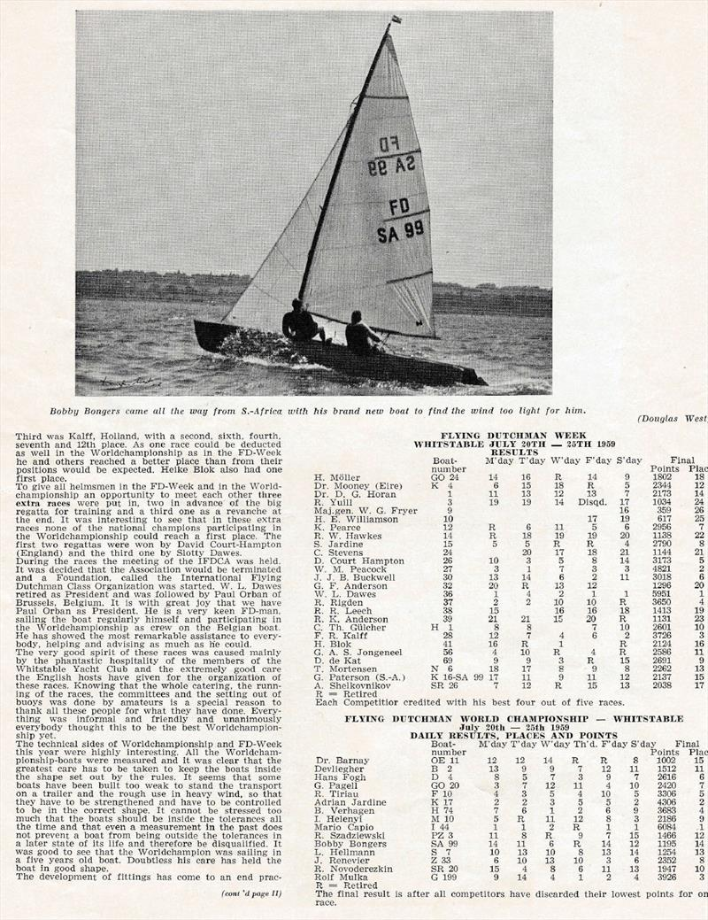 Extracts from Flying Dutchman Bulletin no.22 - November 1959 - photo © Whitstable YC