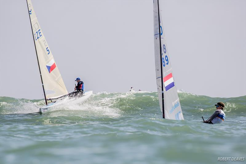 Nicholas Heiner leads Ondrej Teply through some big chop on day 1 of the Finn Europeans in Cádiz, Spain - photo © Robert Deaves